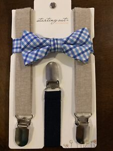 NEW Starting Out  Baby Toddler Boy Bowtie SuspendersBlue Plaid Wedding