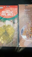 GOLD METALLIC FOIL BALL AND TREE CHRISTMAS HANGING DECORATIONS