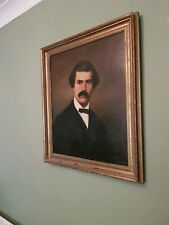 Antique Victorian Oil Painting fine moustached bowtie gentleman portrait 1894 👨