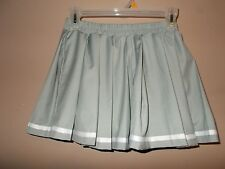 NWT Fantasy Sheep Womens Full Mini Pleated Lined Skirt Gray With White Trim