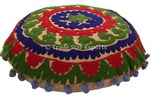 Indian Embroidered Poufs With Pom Pom Lace Cotton Suzani Pillow Cover Boho Throw