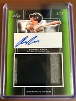 2019 Leaf Perfect Game Tommy Troy Green GU Jersey Patch Auto RC /25