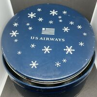 U.S. Airways Airline Vtg Snowflakes Tin Mrs. Fields Empty Cookie Container