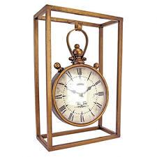 Suspended Industrial Chic Roman Numeral Metal Caged Quartz Mantle Desk Clock