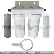 """Dual Under Sink High Flow Water Filter   10""""x2.5"""" Twin O-Ring Housings + Filters"""