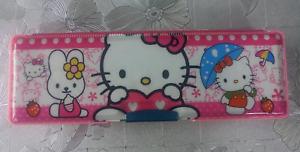 Hello Kitty School Pencil Case 2 Sided Holder w/ 1 Sharpener New