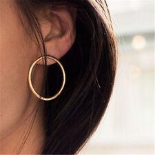 Retro Fashion Women Gold Silver Round Big Large Hoop Huggie Loop Dangle Earrings