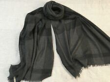 Burberry black grey check soft cashmere wool large shawl wrap scarf unisex