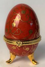 Limoges Hand Made Collectible Large Easter Egg Figurine / Trinket Box