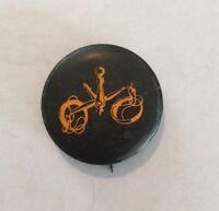 Vintage 1960's Black and Orange Pinback Button