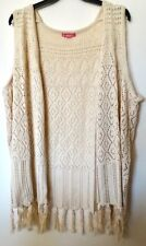 NEW Women's 3X Fit 4X Beige Tunic Cardigan Sweater Vest Bust 64 WOMAN WITHIN