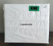 Calvin Klein White Cotton King Sheet Set 4 Pc