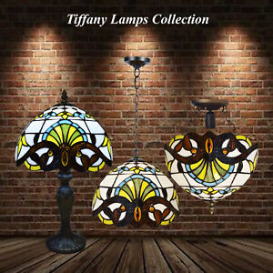 Antique Baroque Style Tiffany Lamps Stained Glass Art Beautiful Home Collection