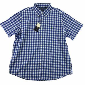 Polo Ralph Lauren Mens Gingham Poplin Untucked Classic Fit Button Down Shirt XL