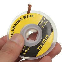 5 Feet /1.5M 3mm Desoldering Braid Solder Remover Wick Wire Repair Tool FL