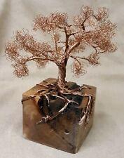Copper Wire Bonsai Tree Sculpture On Wood Base 8