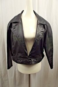 Wilsons Womens 100% Leather Jacket Sz M Medium Black Coat Crop Moto Riding