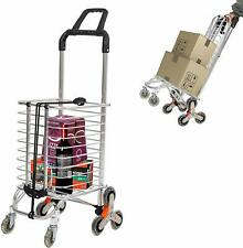 Collapsible Grocery Cart Stair Climber Shopping Cart, w/ 8 Rolling Swivel Wheels