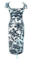 Karen Millen Rare Size 10 Black White Rose Galaxy Pencil Wiggle Dress Floral