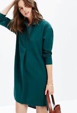Madewell J crew movie house Long sleeve Green Dress Size XS Xsmall teal crepe