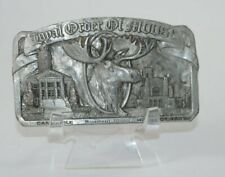 Vintage Belt Pewter Buckle Royal Order of the Moose Mooseheart Illinois 1980s