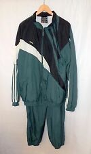 Men Adidas Green 100% Nylon Vintage Sweat Suits Sewn Logos Sz is XL