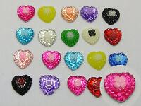 100 Mixed Color Flatback Resin Heart Cabochons 10mm Flower Top Scrapbook Craft