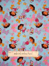 Dora The Explorer Boots Butterfly Cartoon Aqua *Dye Flaws* Cotton Fabric YARD