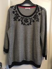 Per Una Size 16 Navy mix Round necked Jumper with 3/4 Sleeves