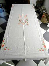 Nappe ancienne en lin brodée a la main fleurs  252 x 144 cms