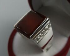 Women Real Brown Yemeni Aqeeq Ring Handmade Sterling Silver 925 Carnelian Ring