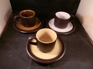 STUNNING X3 SAKI STONEWARE JAPAN CUPS & SAUCERS THREE DIFFERENT COLOURS