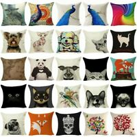 Animal Cotton Linen Throw Pillow Cover Case Decor Sofa Seat Car Cushion Cover