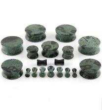 PAIR-Stone Jasper Green Double Flare Ear Plugs 08mm/0 Gauge Body Jewelry