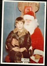 Vintage Photograph Cute Little Boy Sitting on Santa's Lap