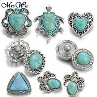 Hot Turquoise 18mm Charm Chunk Ginger Snap Button Fit 18mm Noosa Jewelry Craft