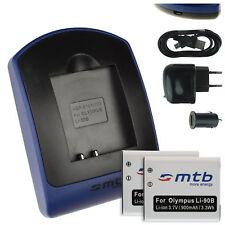 2x Baterìas + USB Cargador Li-90B LI-92B per Olympus TOUGH TG-Tracker
