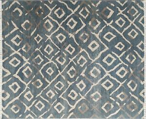 Blue Abstract Art Rug Geometric Hand Knotted, Decor Living Room Rug 8x10 - 7132