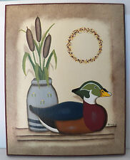 VERY NICE PAINTING SIGNED NATHALIE '05 OF A SITTING DUCK AND A VASE OF CATTAILS