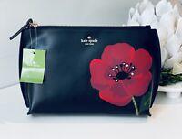 NWT Kate Spade Poppy Hilarie Purse Pouch Zip Case Ohh La La Black Leather NEW