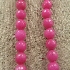 free ship 132pcs hot pink Natural Jade Faceted round Loose beads 10mm ZH1320