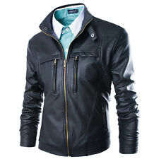 Men's Leather Jackets Black&brown Fit Biker Motorcycle Jacket Large Size Fashion Black Tag 2xl US L