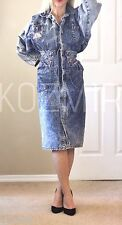 VINTAGE 80s DENIM DRESS Studded Zip Front Pencil Jean Shirtdress European 40