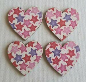 Handmade Set of 4 Wooden Heart Fridge Magnets Gorgeous Pink & Purple Stars Print