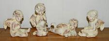 4 Lovely Ceramic Angels/Cherubs! Christmas! Gold Guild
