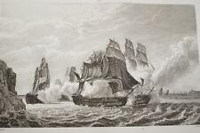 NAPOLEON  COMBAT LE ROMULUS ANGLAIS 1814 GRAVURE 1838 VERSAILLES R1253 IN FOLIO
