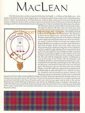 SCOTTISH CLAN MACLEAN FAMILY HISTORY Ready to Frame Print - Tartan - History