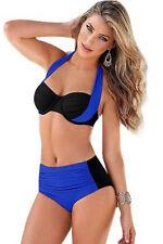 Costume Da Bagno Bikini Bicolo Vita alta Fascia Arricciato Swimwear Swimsuit XXL