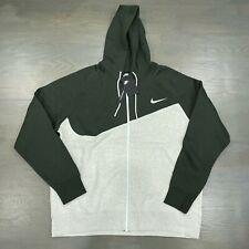 Nike NSW Fleece Full Zip Swoosh Hoodie Oatmeal Gray Green BV5237-141 Men's New
