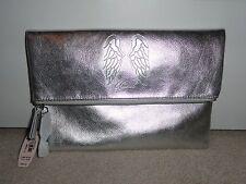 VICTORIA'S SECRET ANGEL WING CLUTCH MAKEUP BAG METALLIC SILVER FOLD OVER NWT $68
